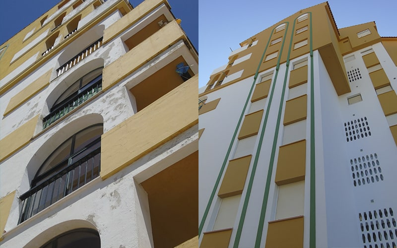 protección fachadas antes después